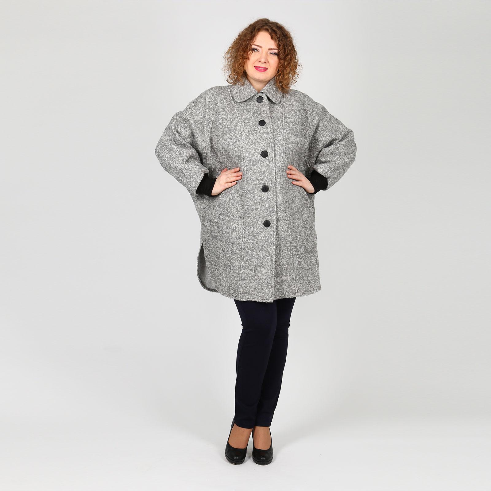 Пальто-пончо на пуговицах