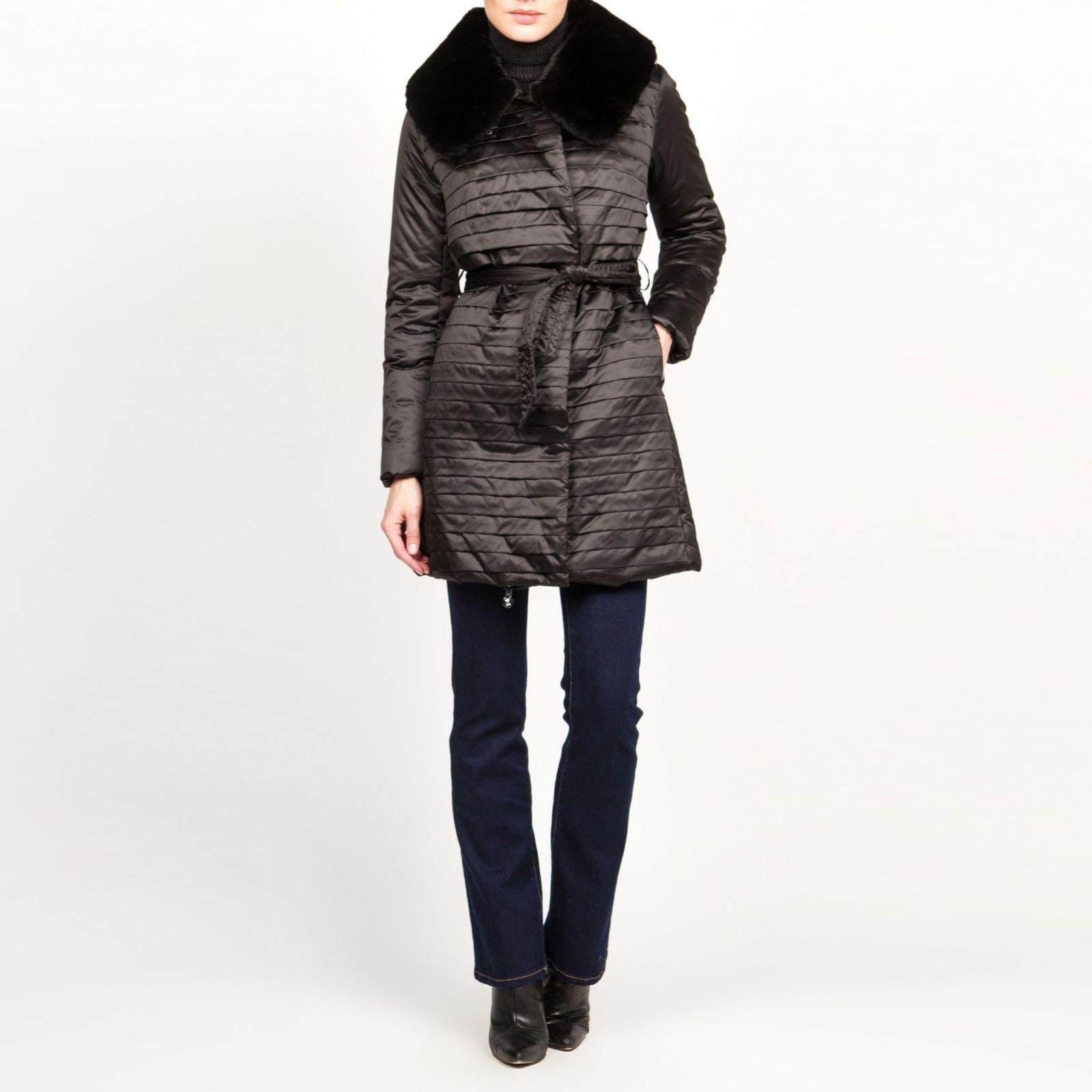 Пальто утепленное с отложным воротником