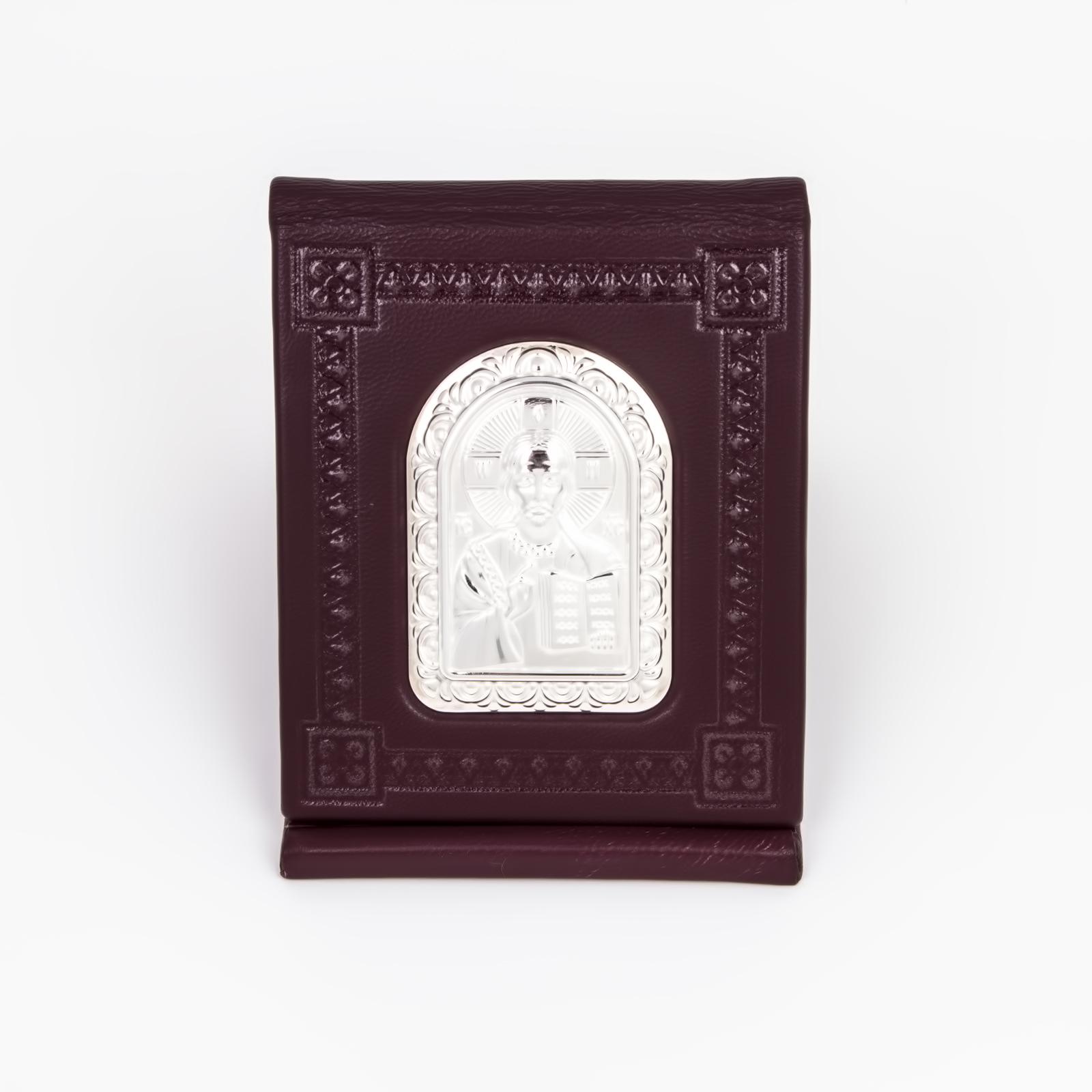 Серебряная плакетка c кожаным футляром
