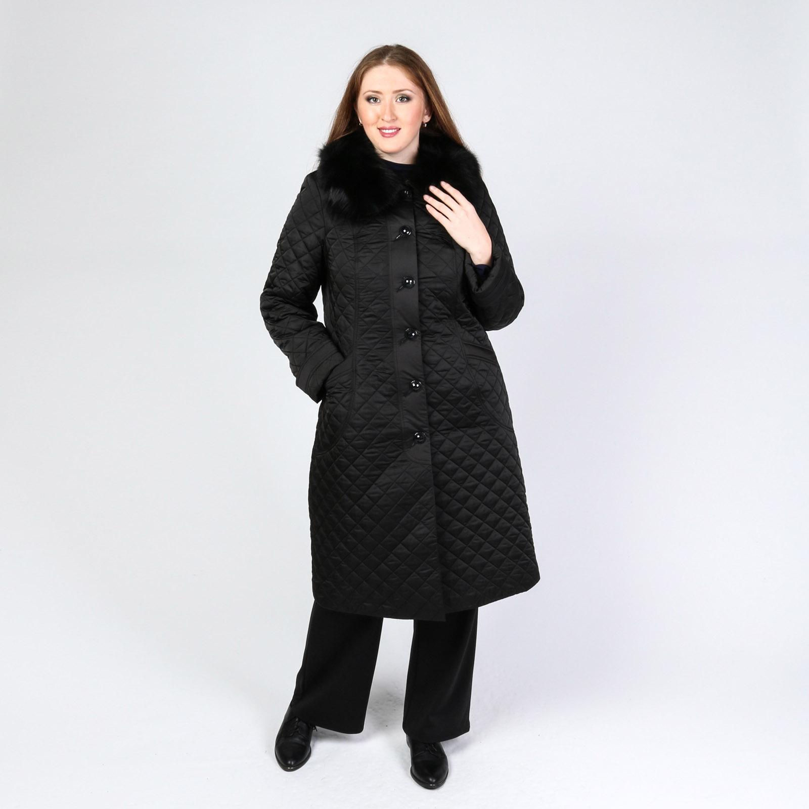 Пальто стеганое с натуральным мехом