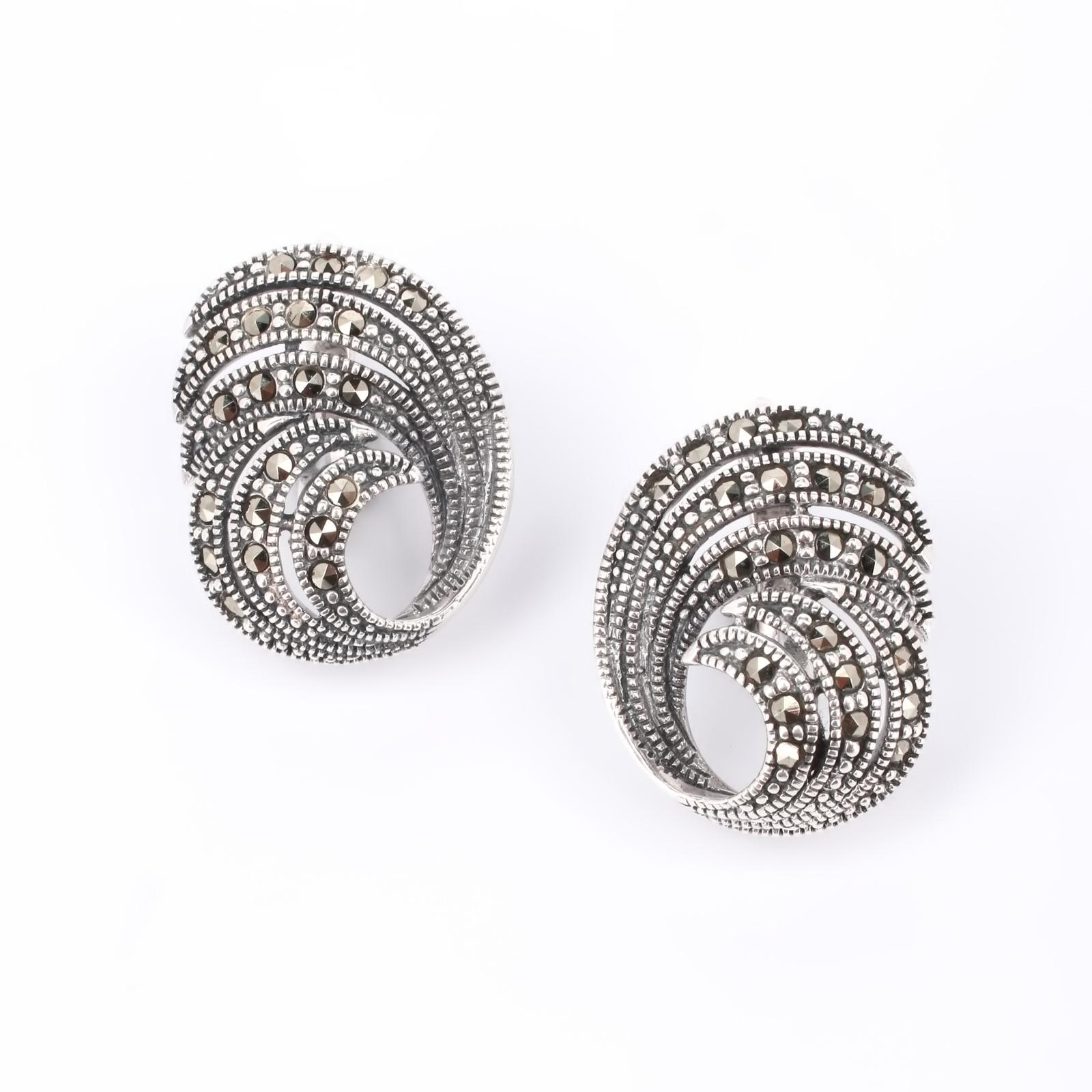 Серебряные серьги  «Магическая волна»
