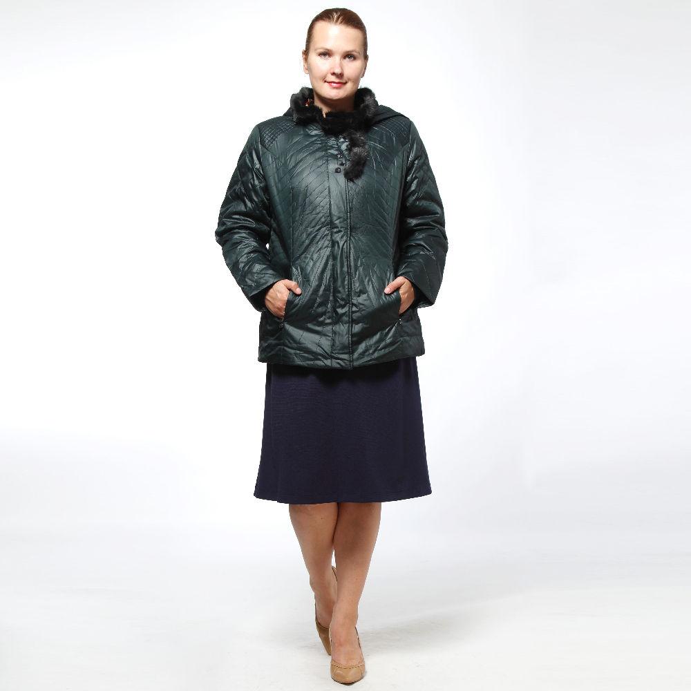 Куртка стеганая с натуральным мехом и декоративными камнями