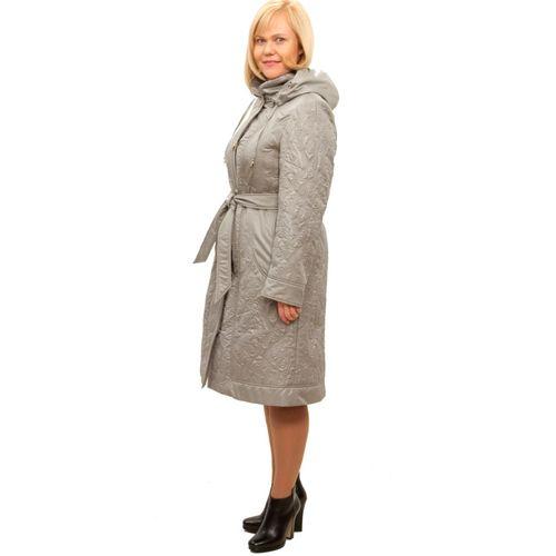Стеганое пальто с поясом и капюшоном