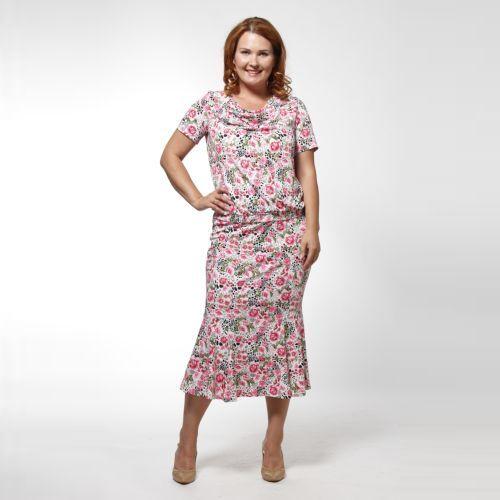 Комплект: блуза и юбка с цветочным принтом