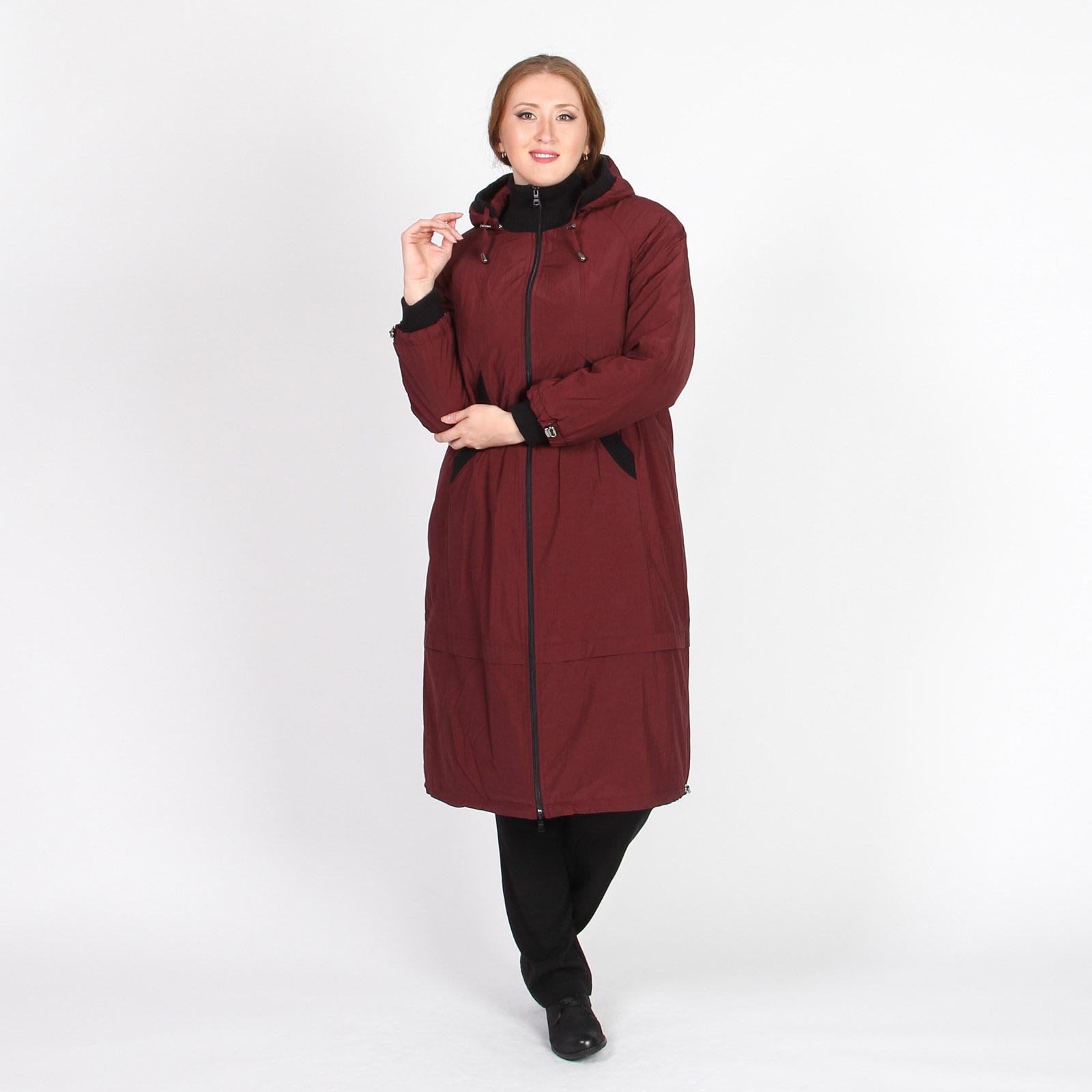 Пальто с воротником-стойка и капюшоном