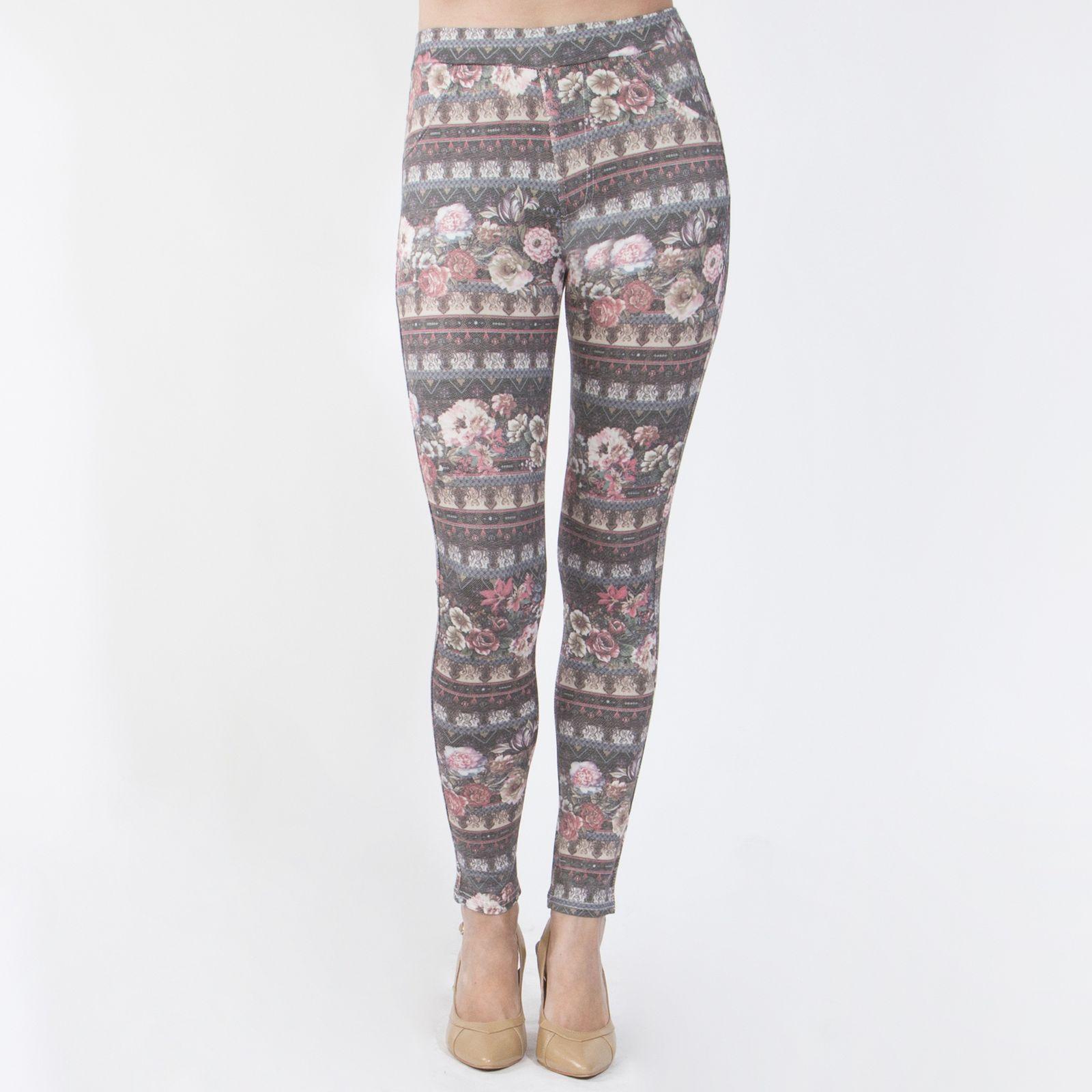 Кроеные леггинсы из вискозы под джинсу «Цветочный сад»