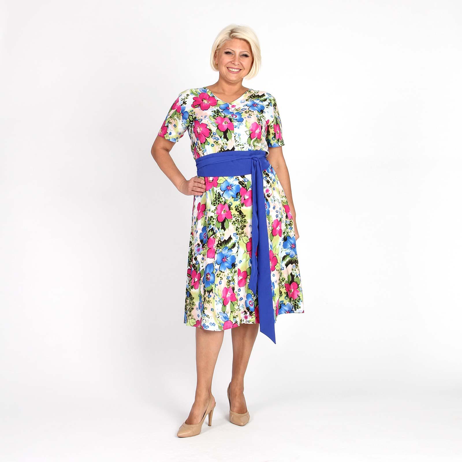 Платье A-образного силуэта с цветочным принтом