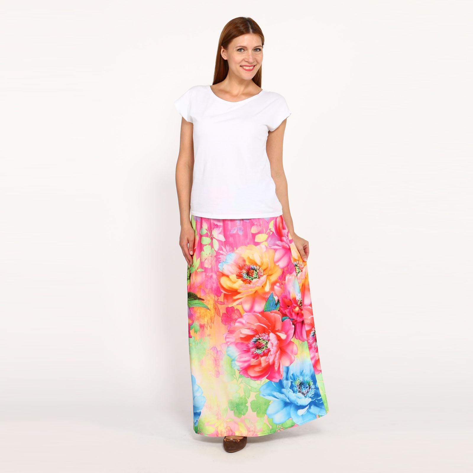 Юбка-макси с ярким цветочным принтом