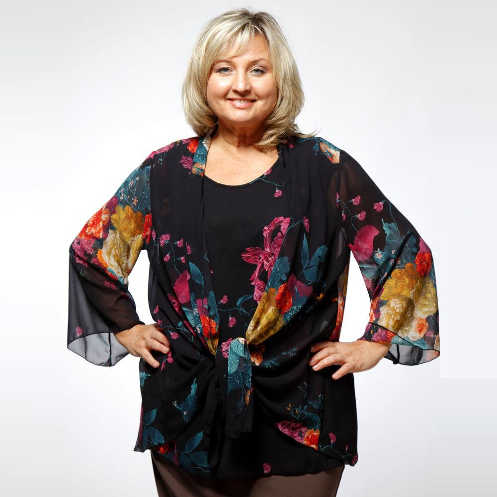 Комплект: шифоновая блуза и накидка с цветочным принтом
