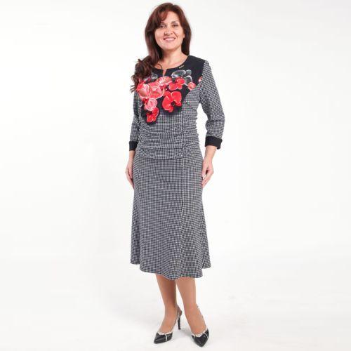 Платье с комбинированным принтом