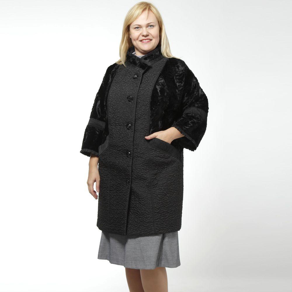 Пальто женское с воротником стойка, рукавом 7/8 и меховыми вставками