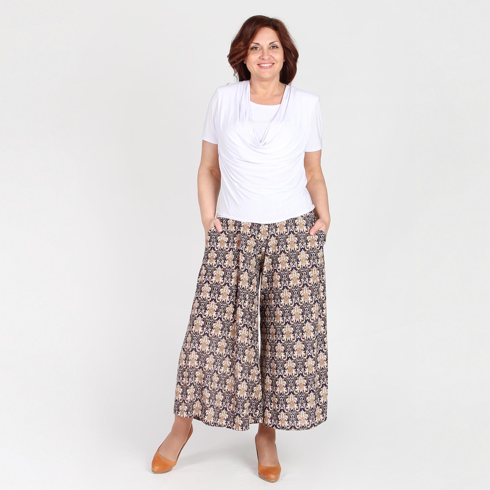 Юбка-брюки с карманами и узорным принтом