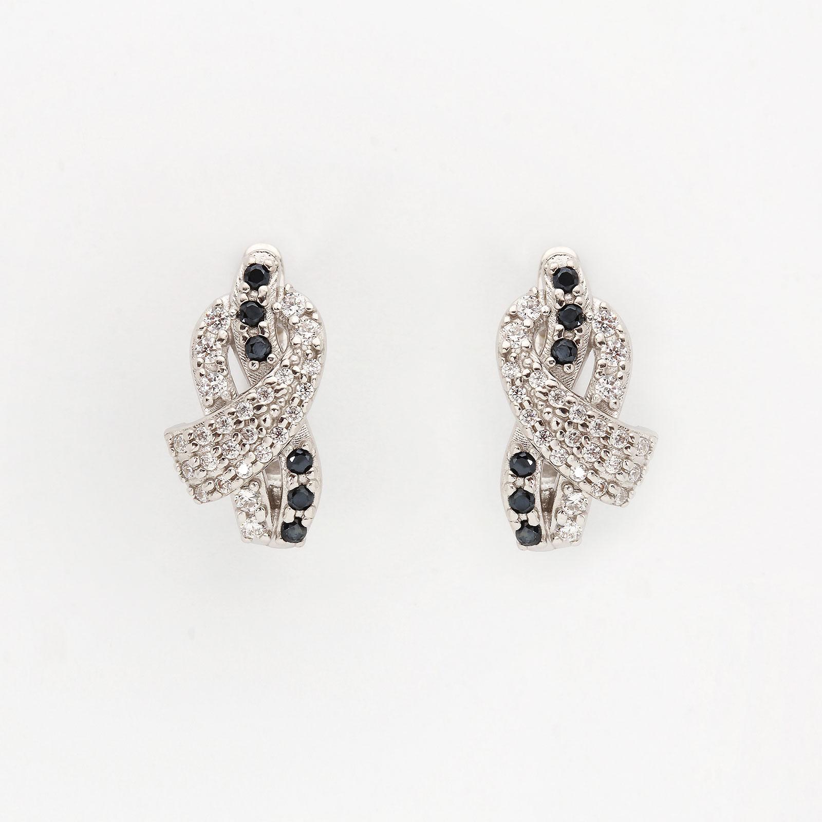 Серебряные серьги «Черное и белое»