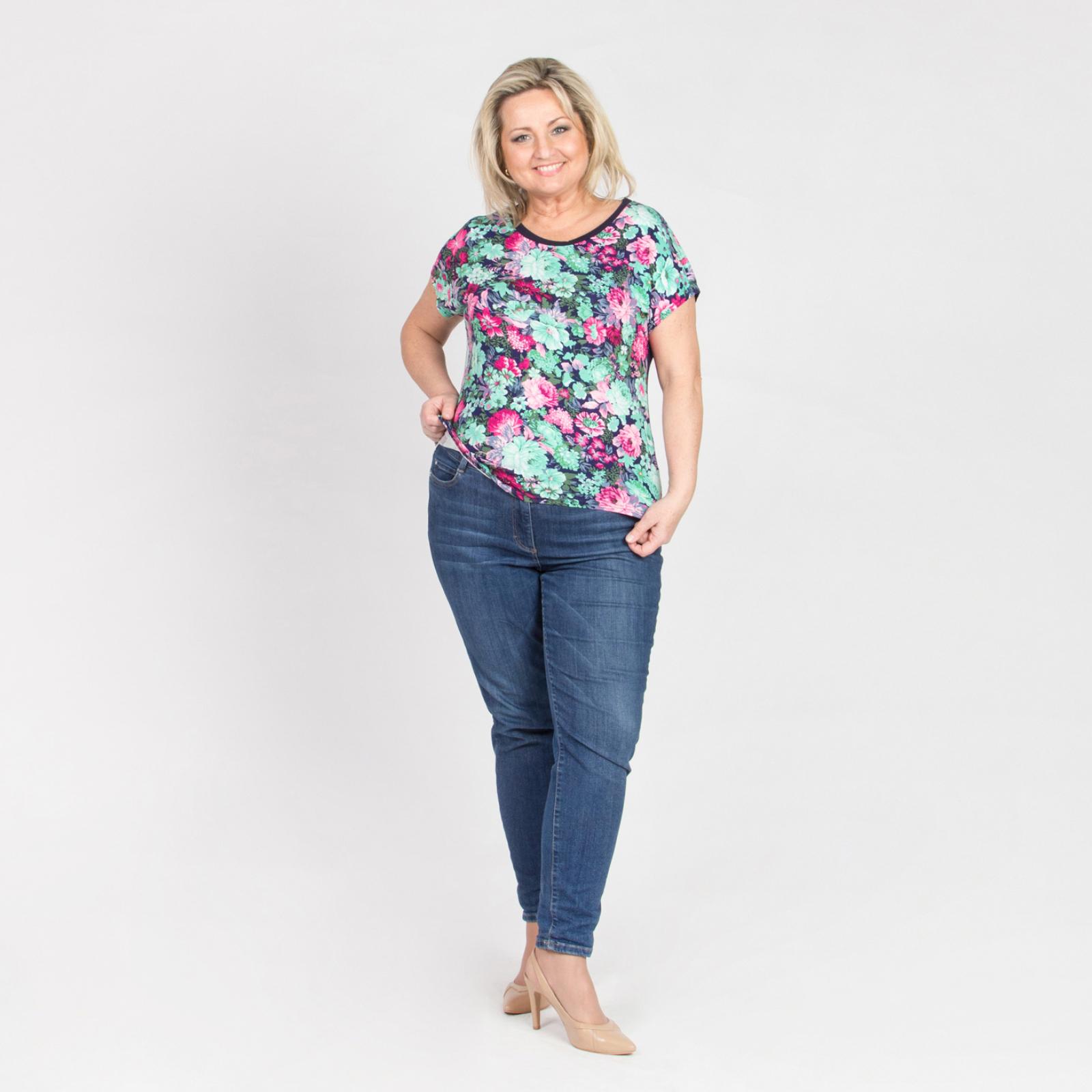 Блуза прямого кроя с принтом «Цветочное настроение»