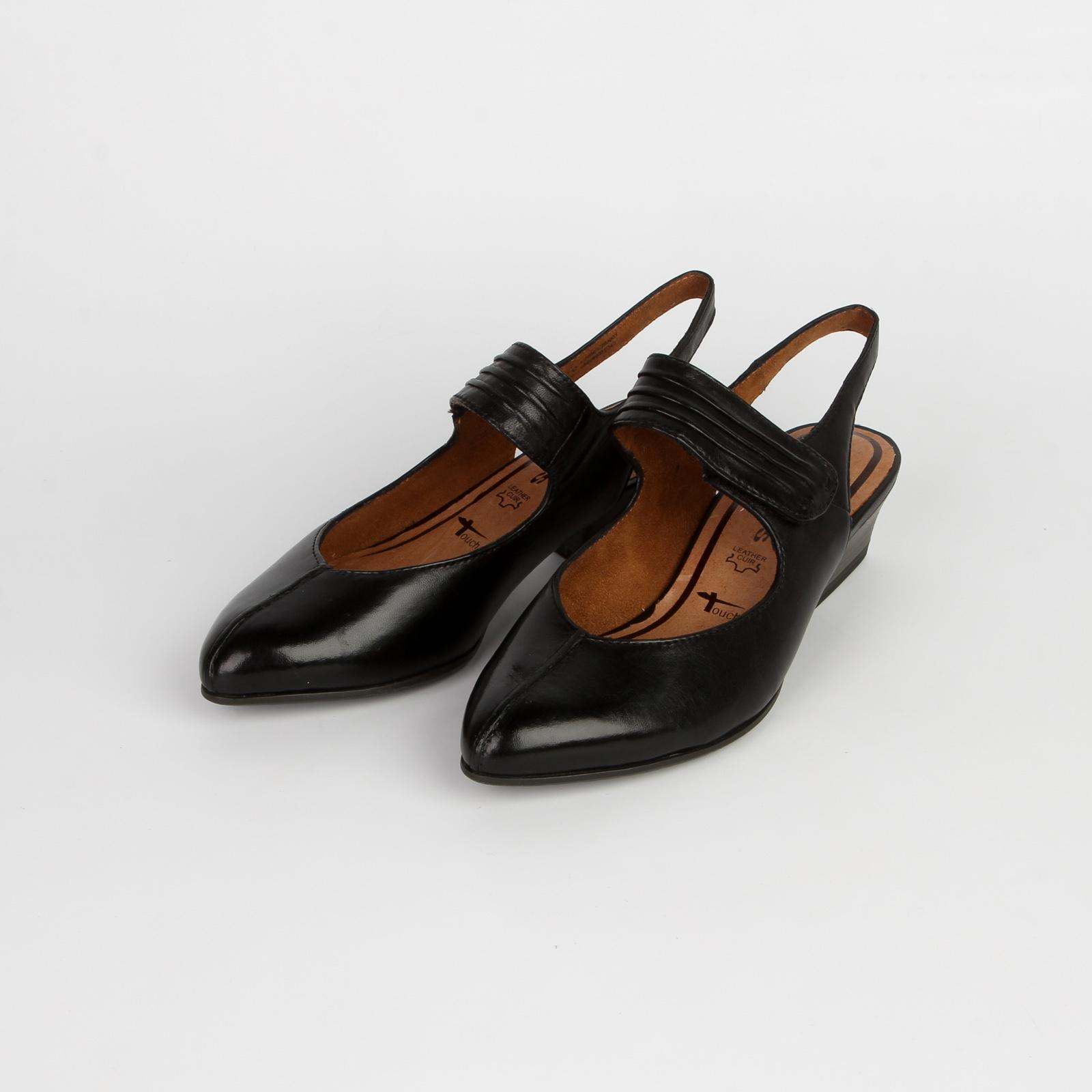 Туфли женские из натуральной кожи с заcтежкой-липучкой и открытым задником