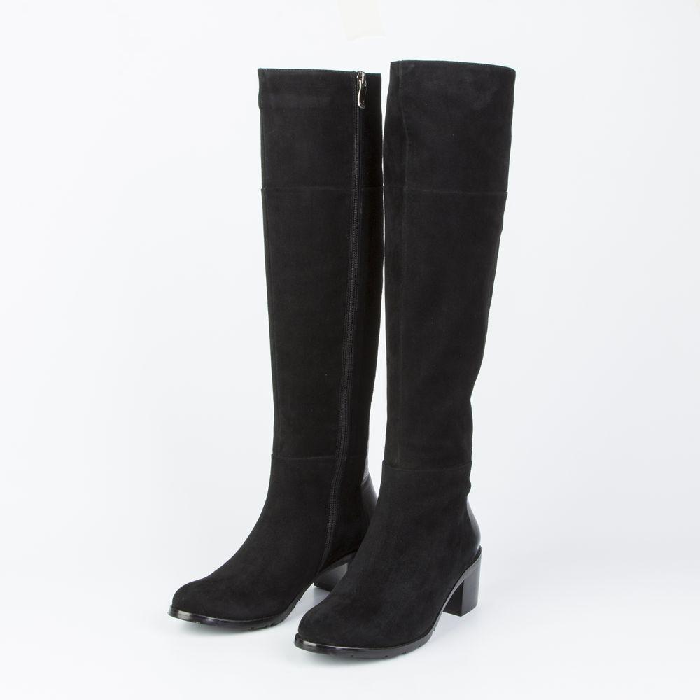 Сапоги женские велюровые на широком каблуке-кирпичике