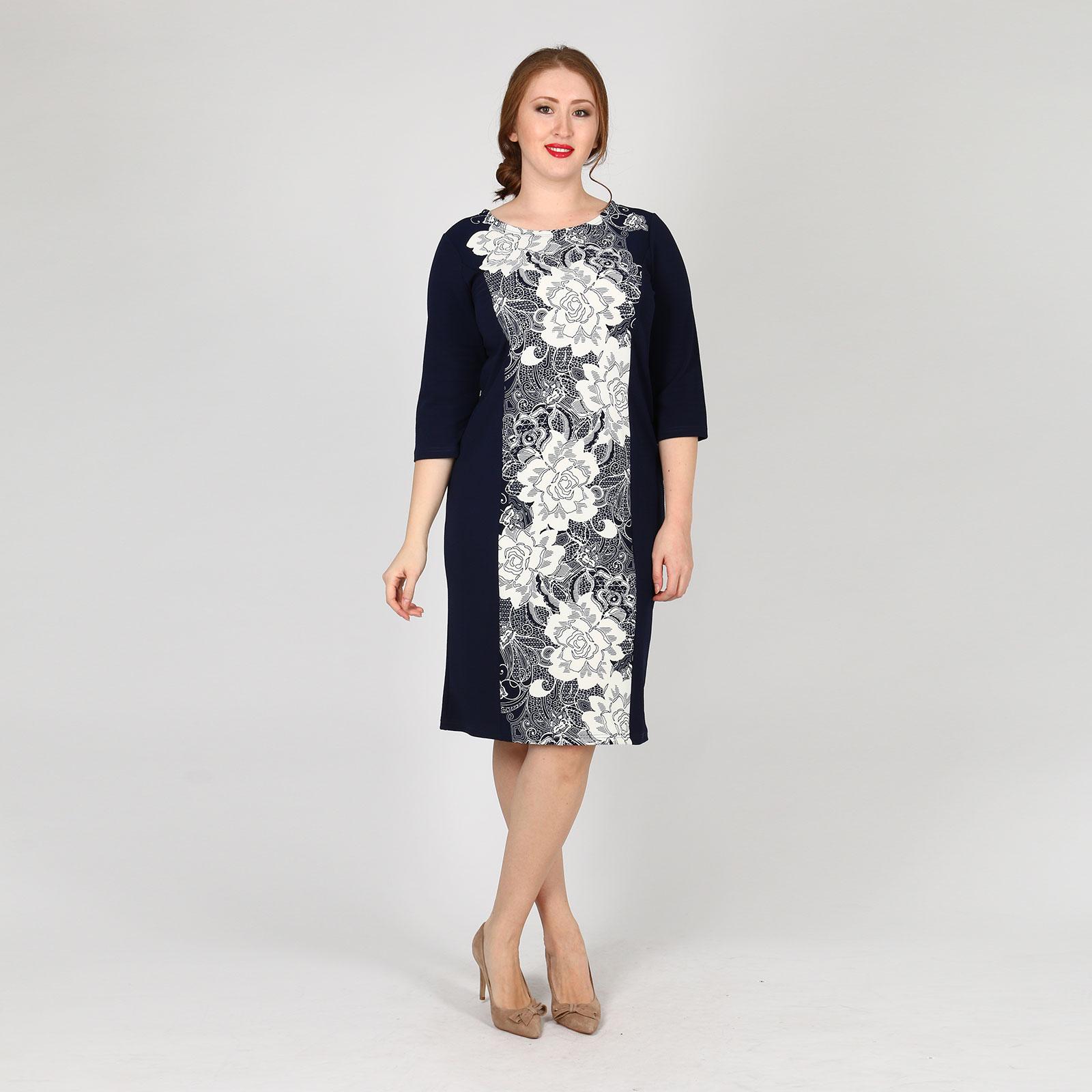 """Платье с рукавом 3/4 и принтом """"Цветы"""""""