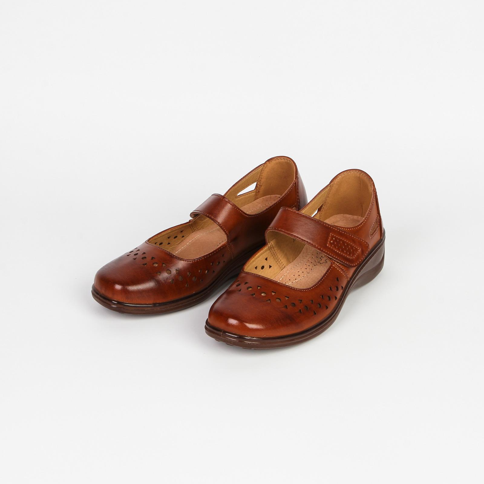 Туфли женские с удобной застежкой и сквозной перфорацией