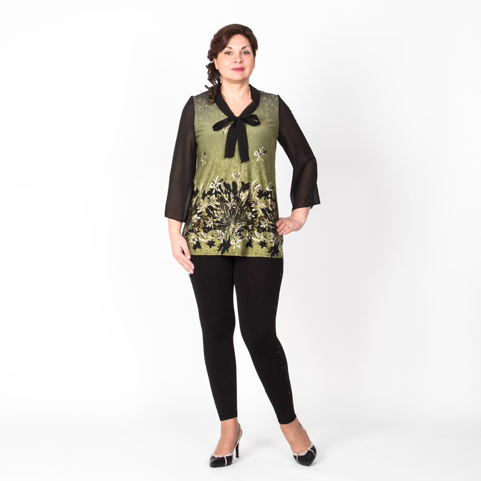 Блуза с шифоновыми рукавами и декоративным бантом