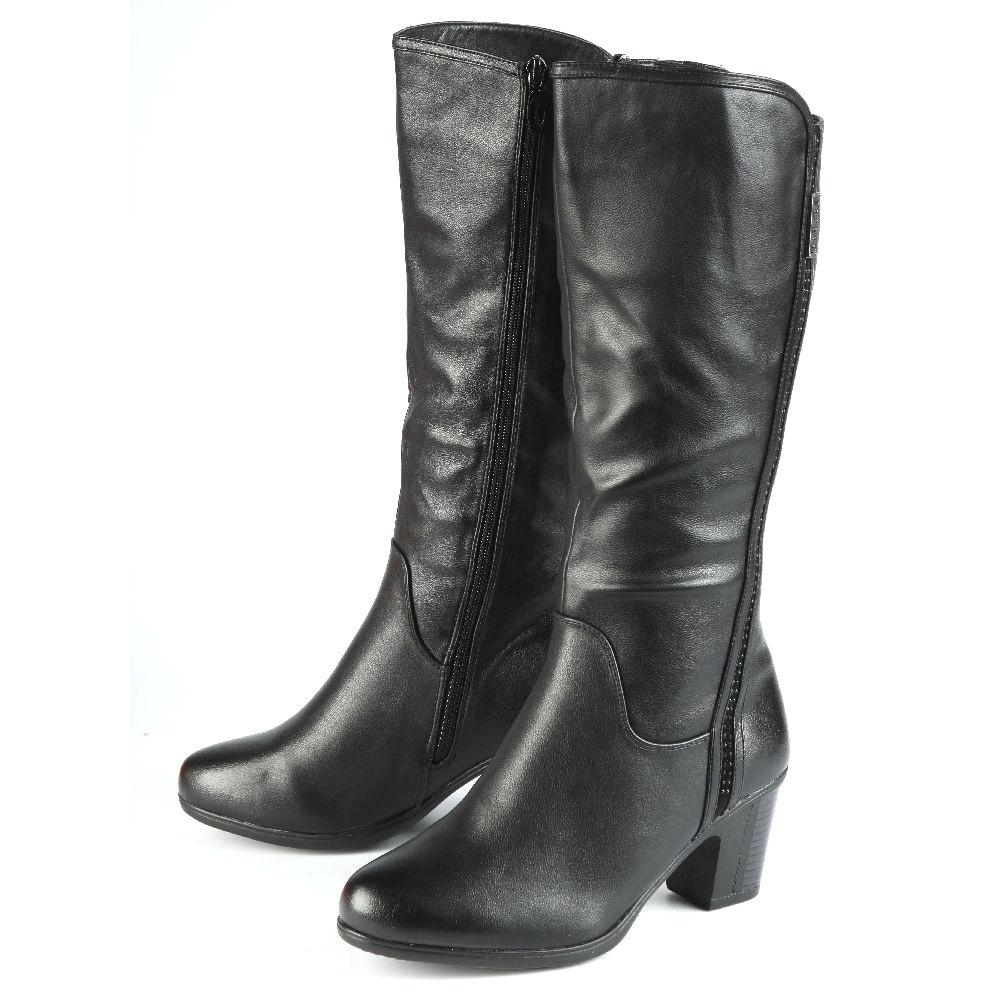 Сапоги женские на комфортном каблуке с эластичной вставкой