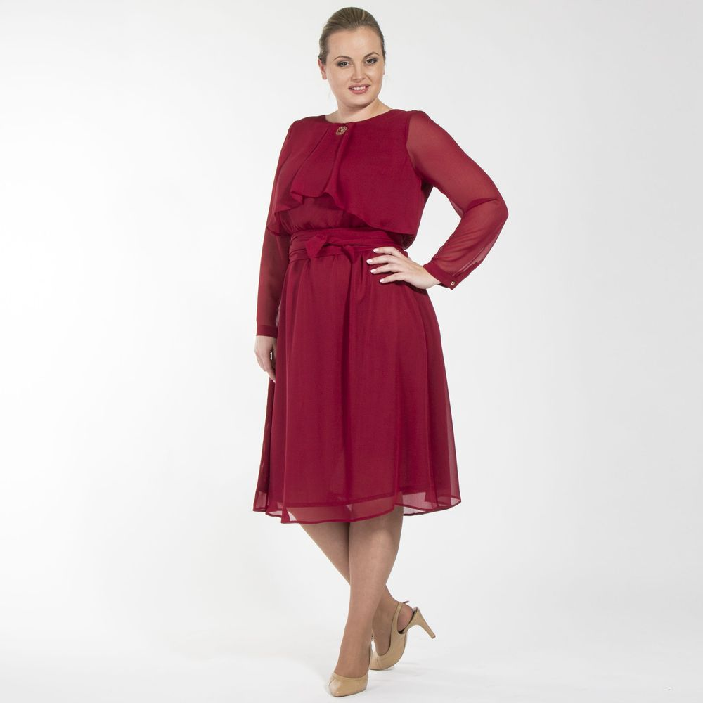 Платье шифоновое с оригинальной отделкой