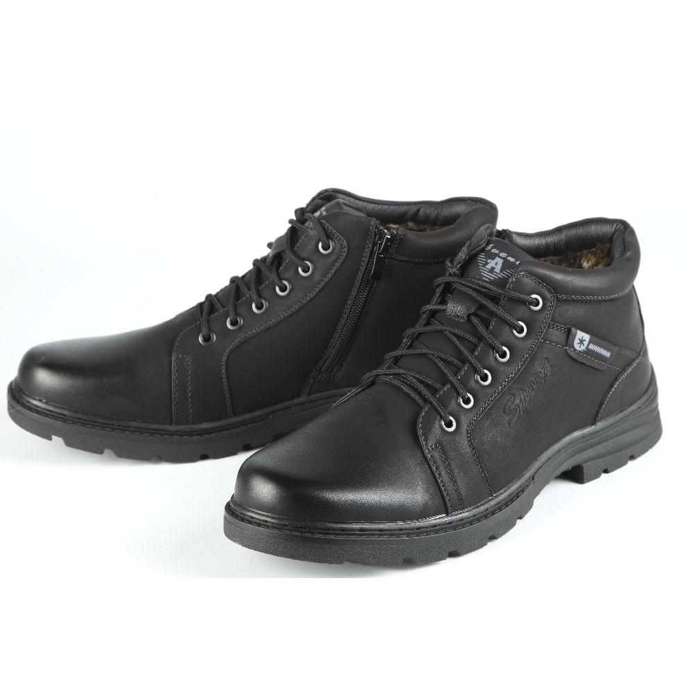 Ботинки мужские на рельефной подошве со шнуровкой