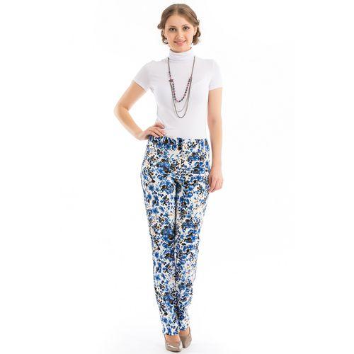 Брюки с принтом «синие цветы»