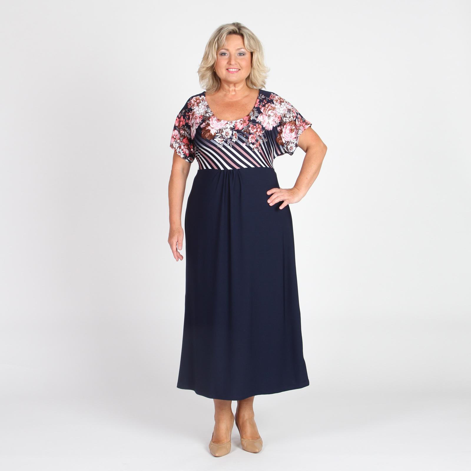 Платье прямого кроя с втачным поясом и цветочным принтом