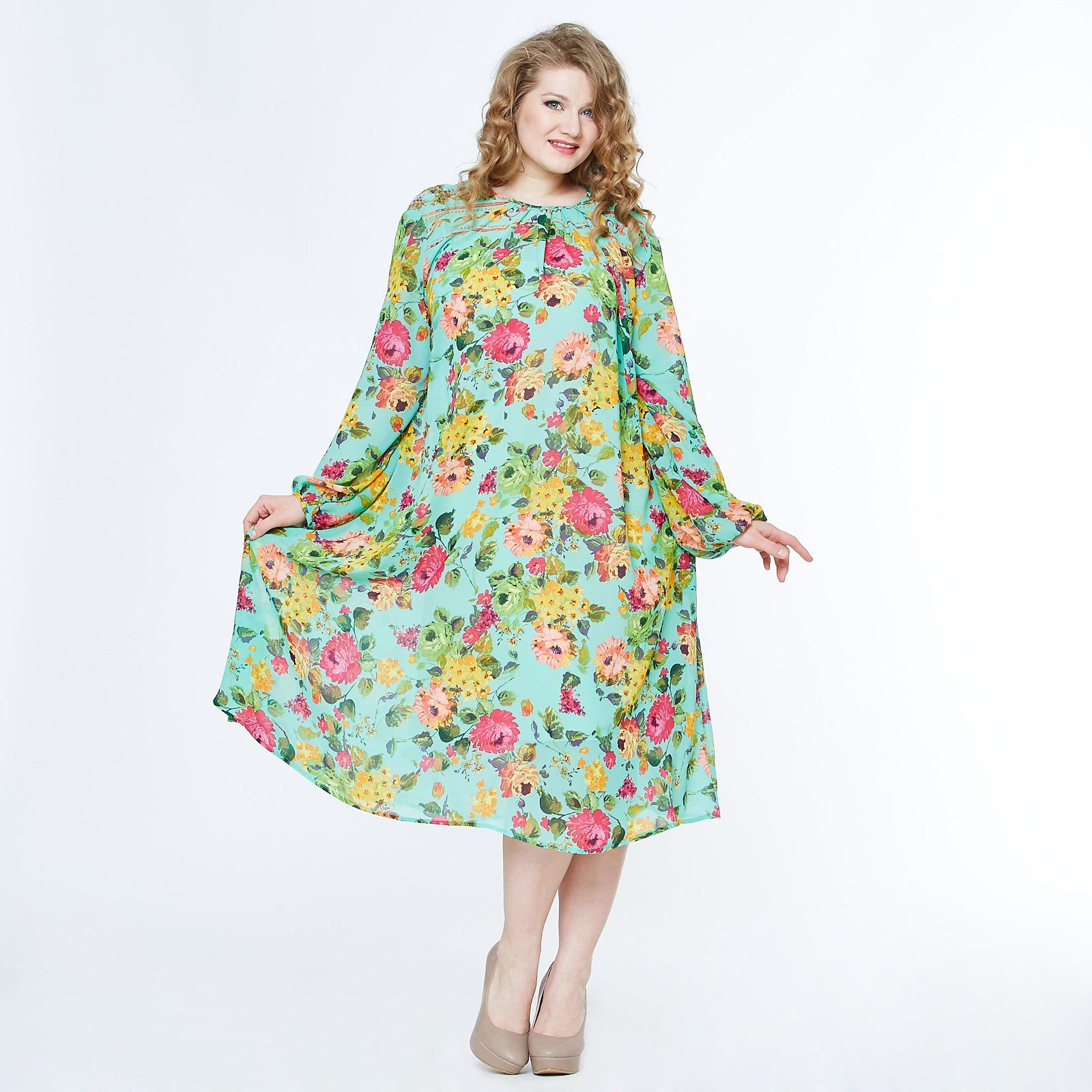 Платье свободного кроя с изящными рукавами и цветочным принтом