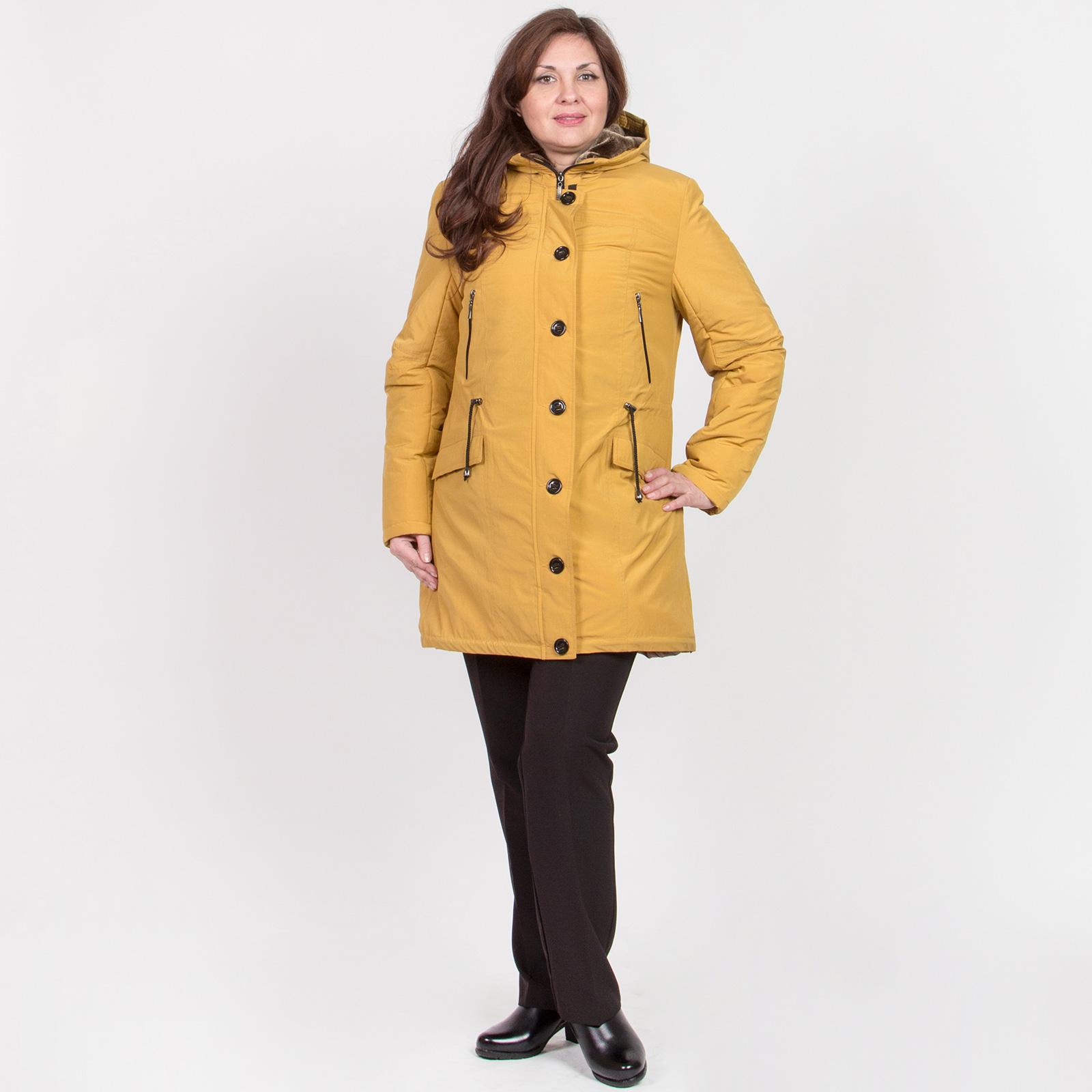 Куртка-парка женская актуального кроя с кулиской на талии