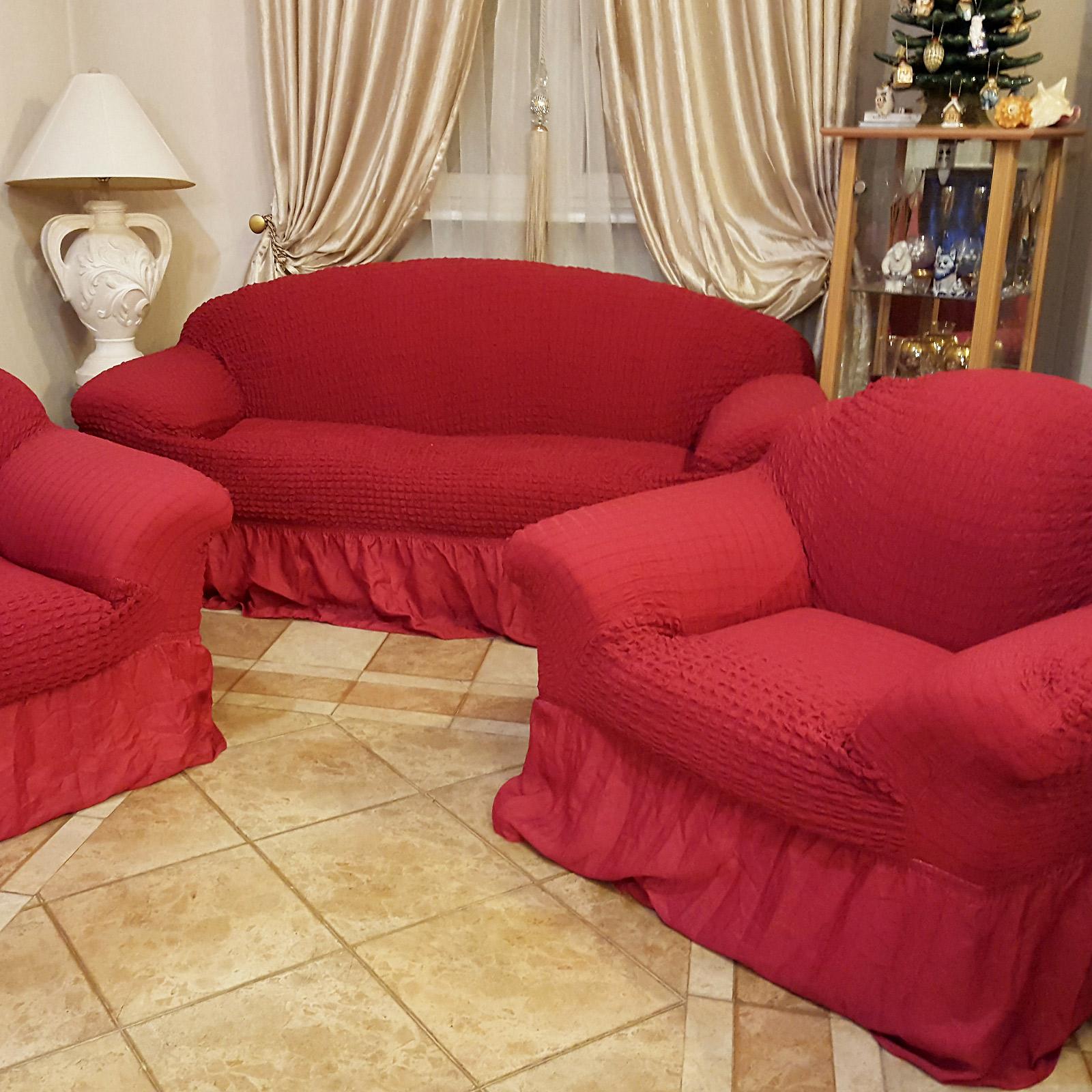 Комплект чехлов «Преображение» на диван и 2 кресла (красный)