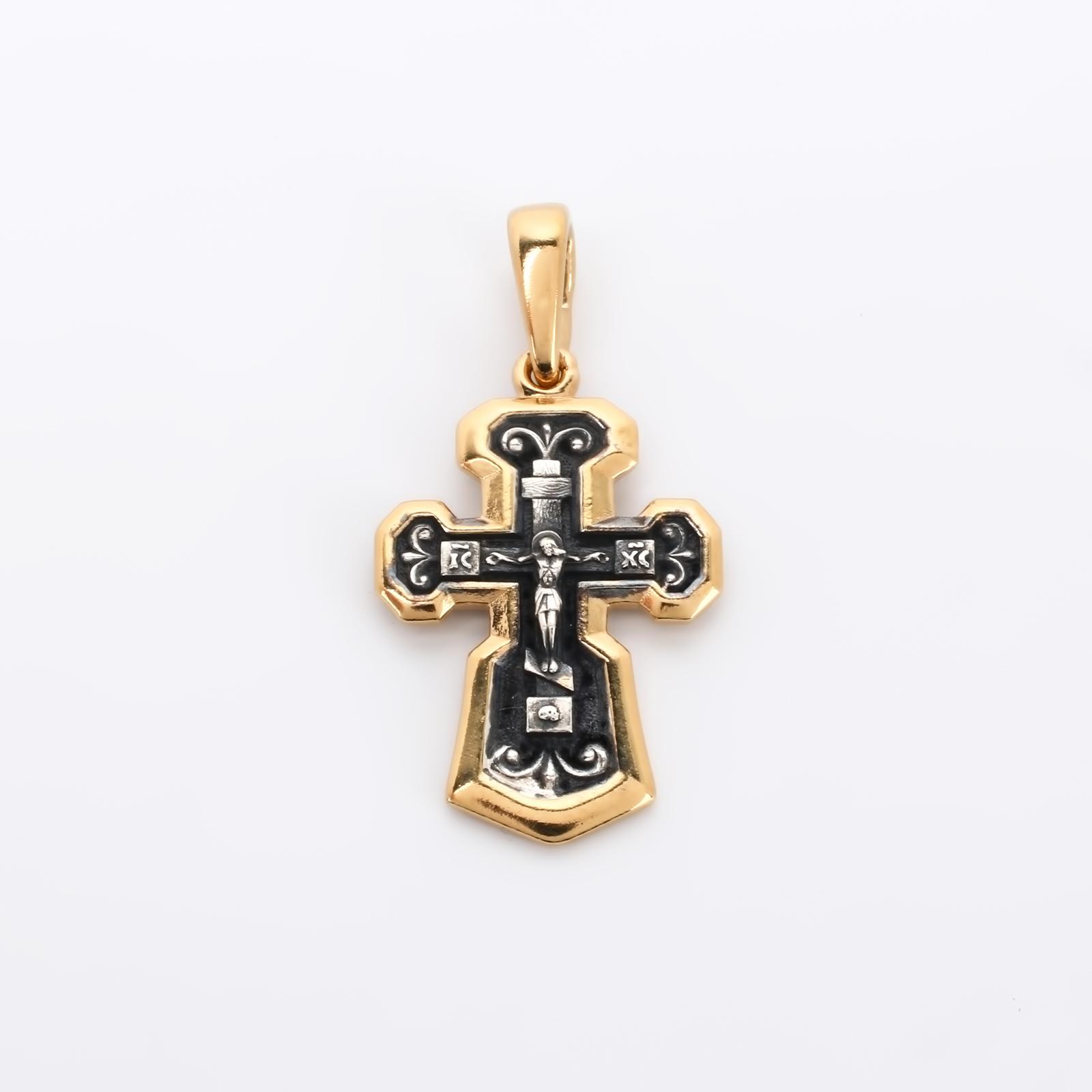 Серебряный крестик с позолотой