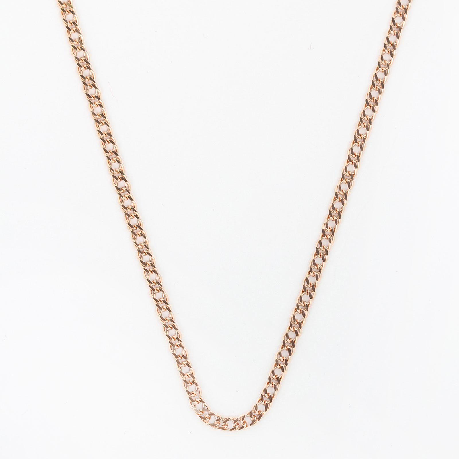Серебряная позолоченная цепь плетения «Двойной ромб»