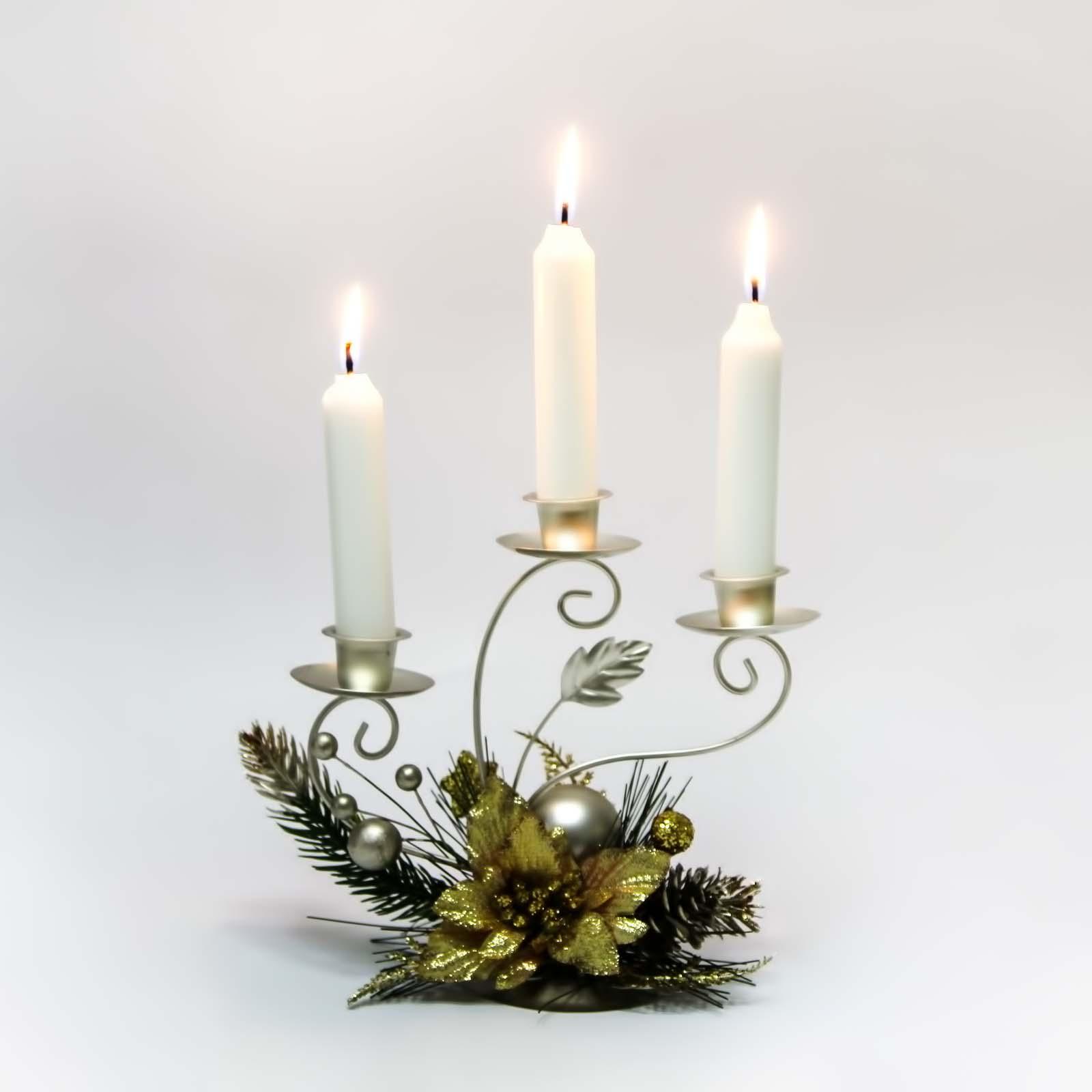 Подсвечник на 3 свечи «Золотой цветок»