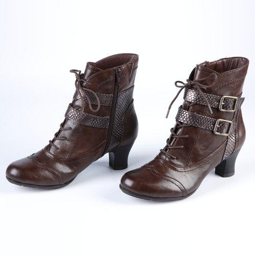 Полусапоги женские на шнуровке и с контрастными ремешками