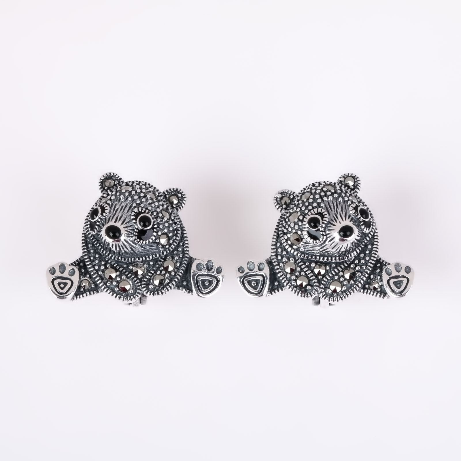 Серебряные серьги «Мишки»