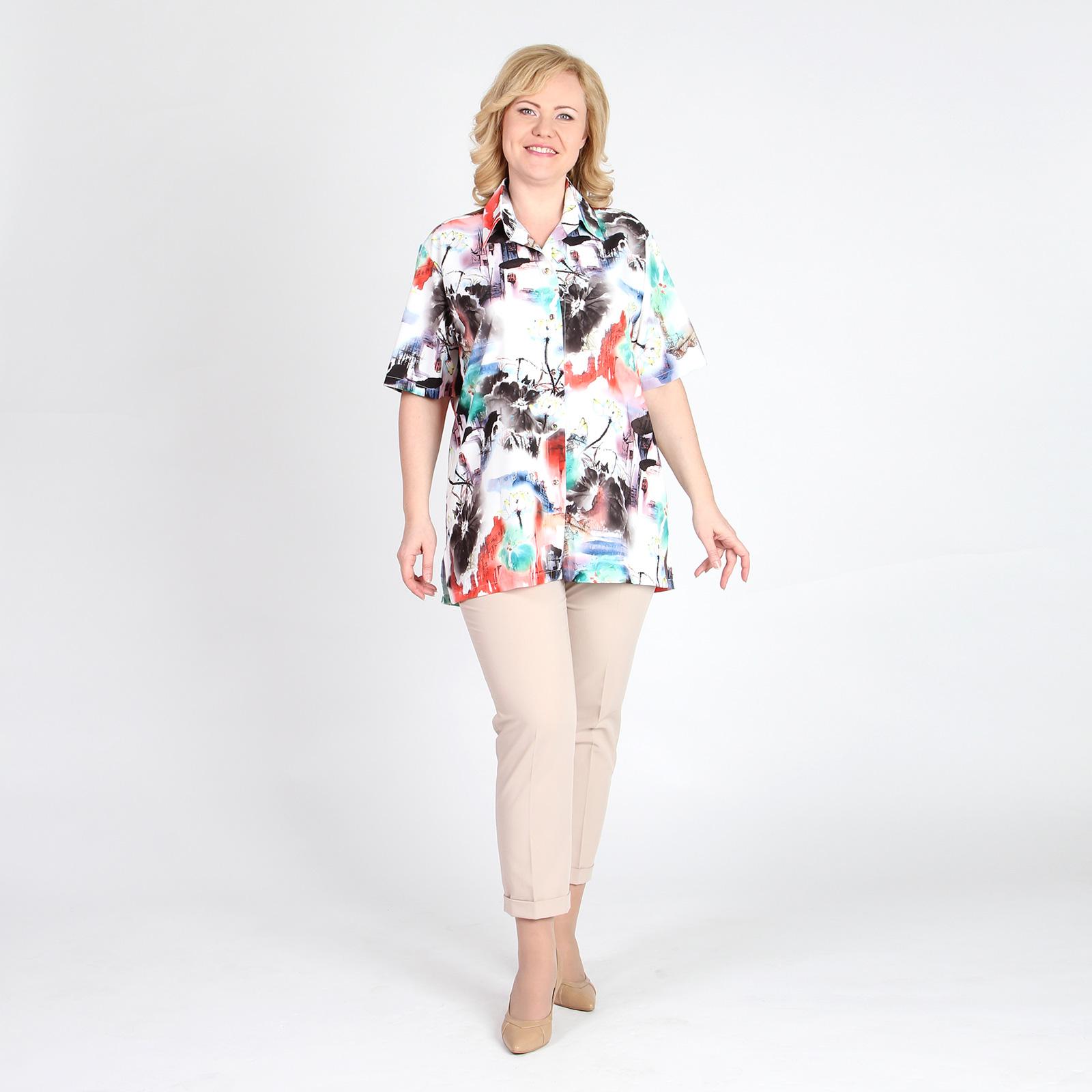 Блуза-туника с акварельным принтом
