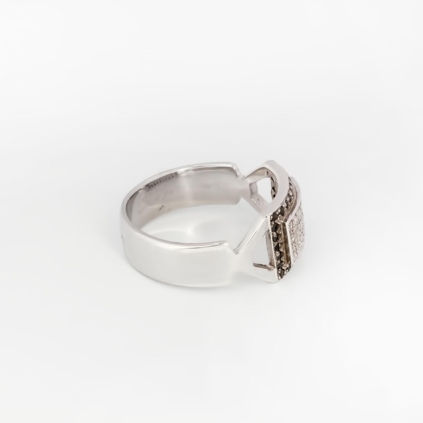 Серебряное кольцо «Черный квадрат»
