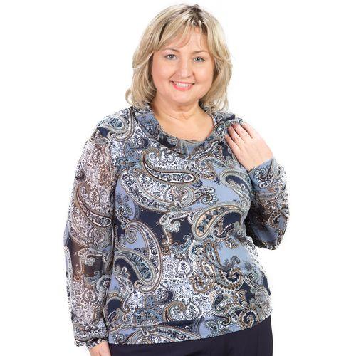 Блуза с узором «турецкий огурец» и шифоновым рукавом