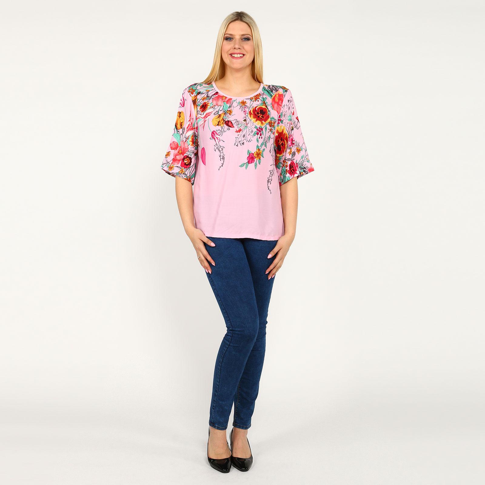 """Блуза с принтом """"Цветы"""" и коротким рукавом"""