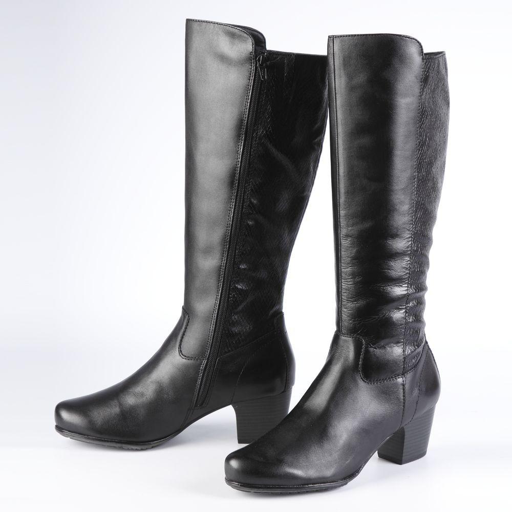 Сапоги женские на широком каблуке и молнии