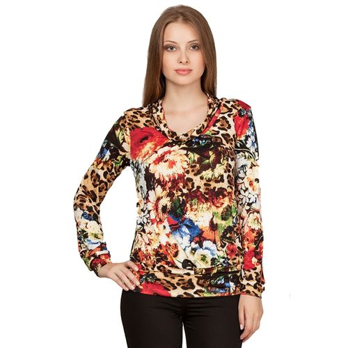 Яркая трикотажная блуза с цветочным принтом