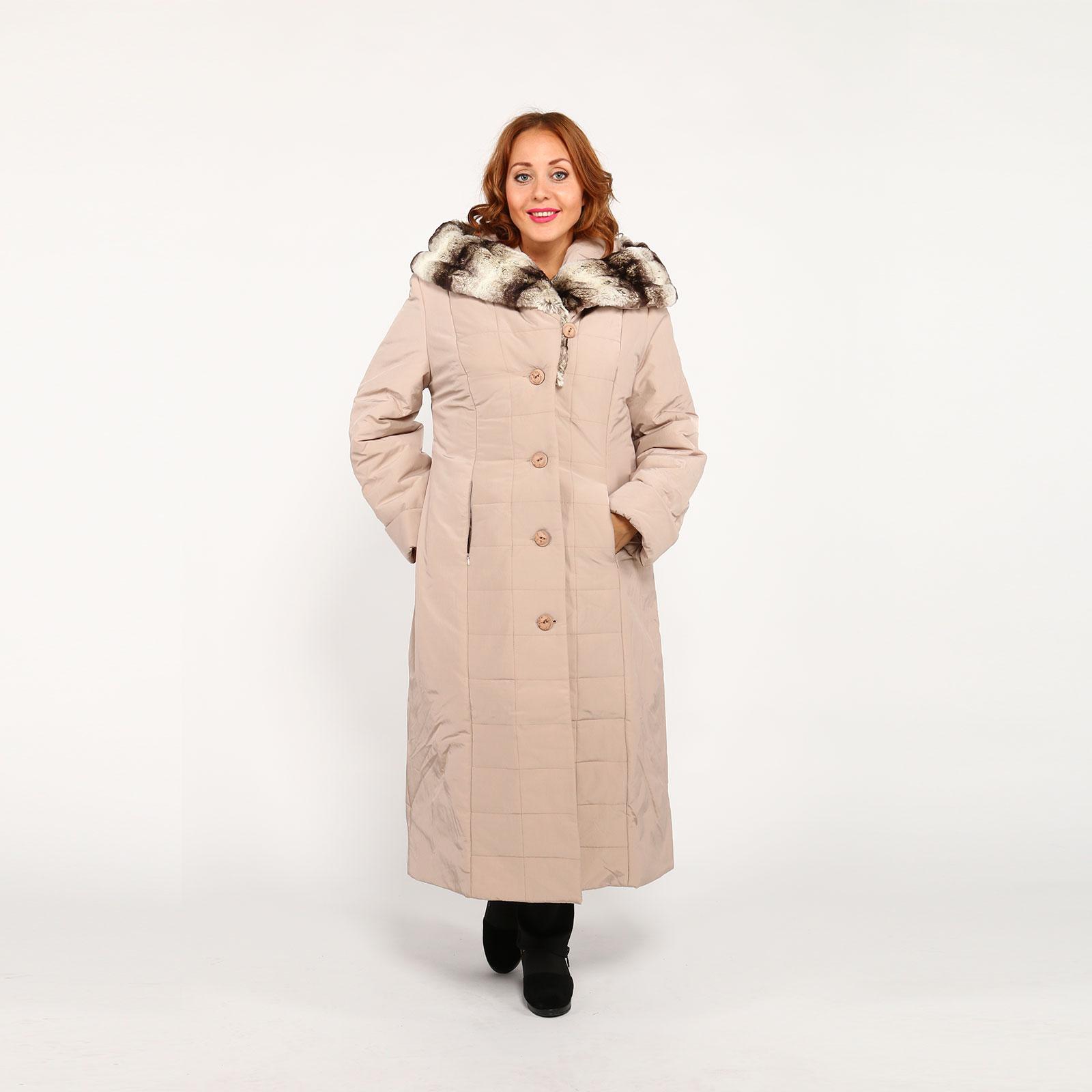 Зимнее удлиненное пальто с меховым капюшоном