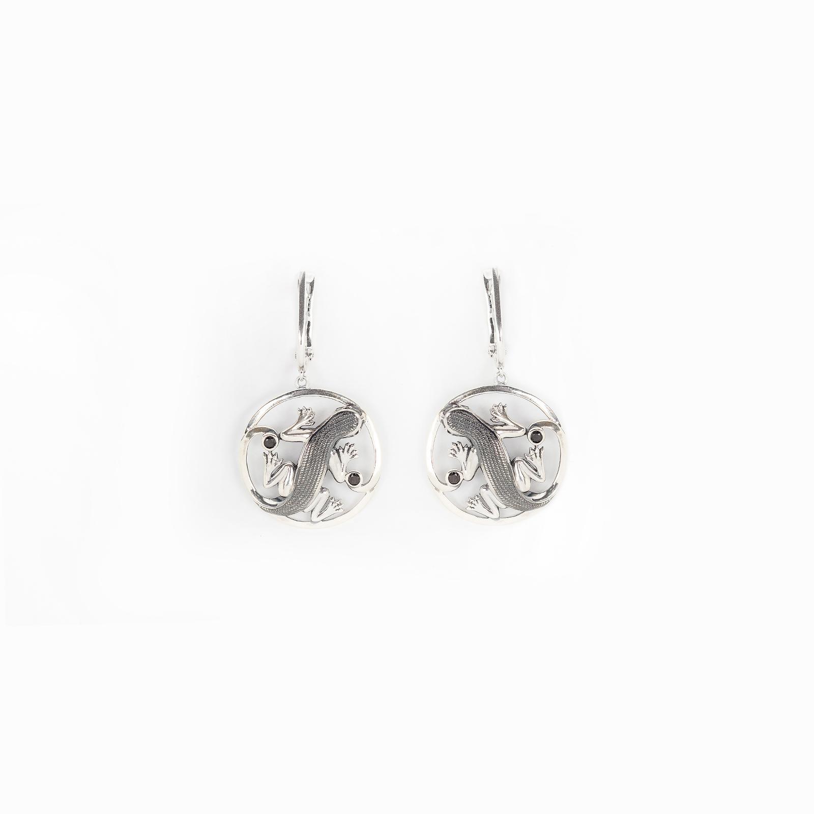 Серебряные серьги «Индийская ящерица»