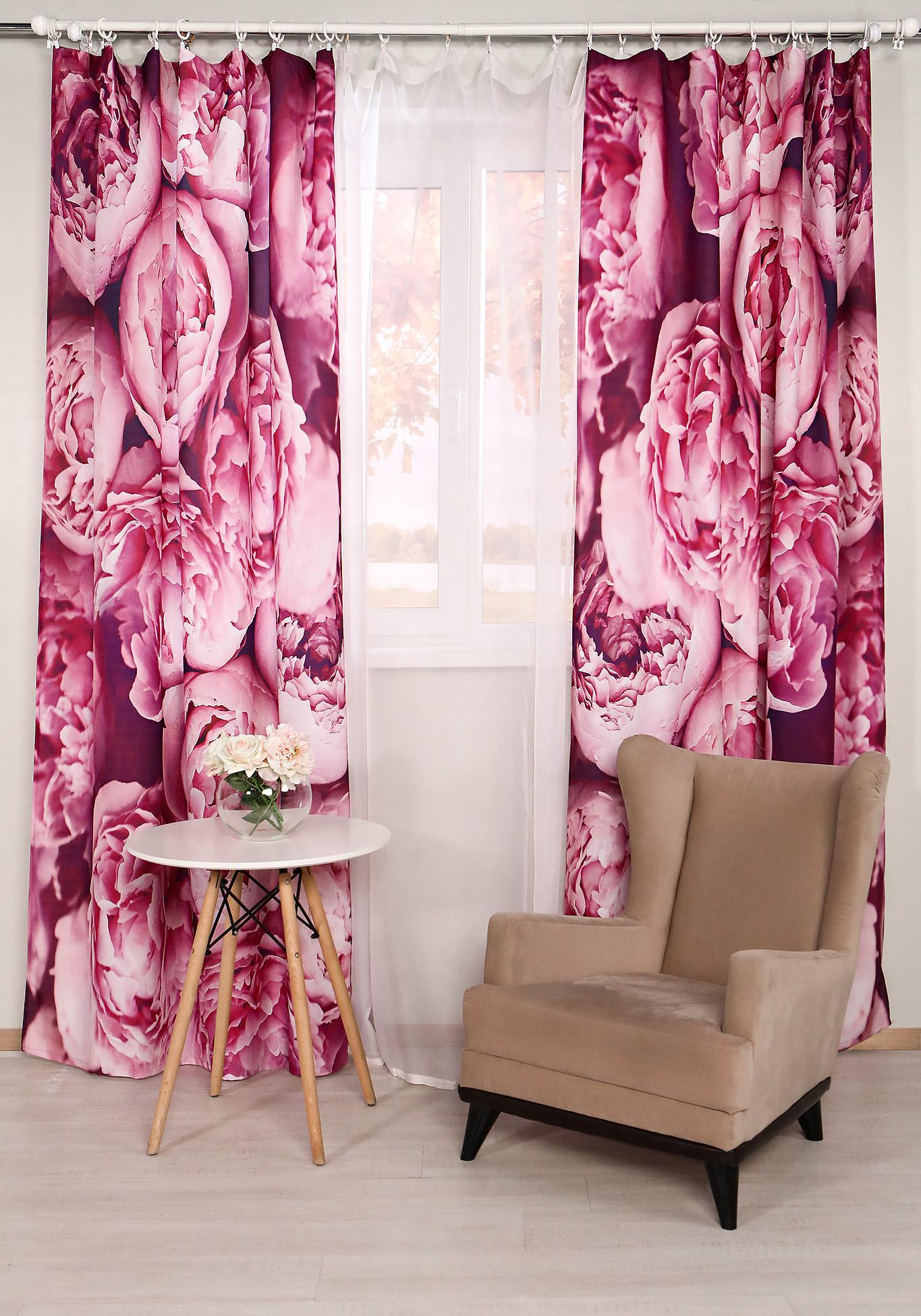 Комплект портьер Розовый шик комплект портьер цветочный каприз
