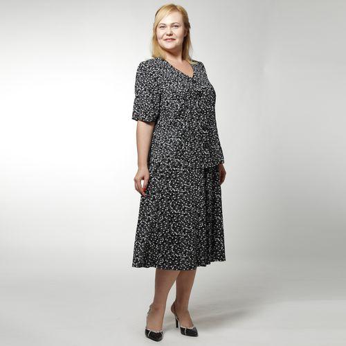 Костюм: блуза и юбка с черно-белым цветочным принтом
