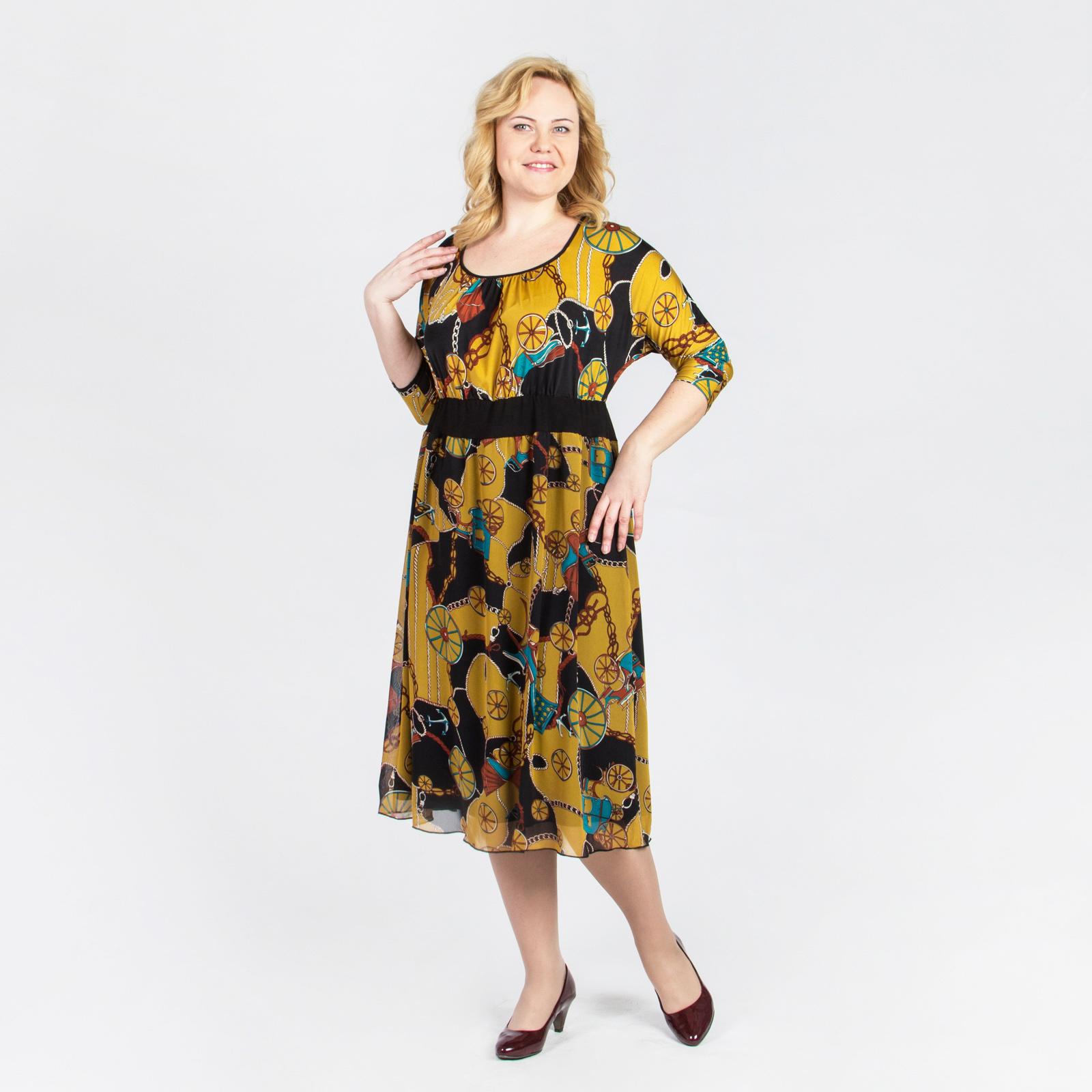 Платье из шифона с оригинальным принтом
