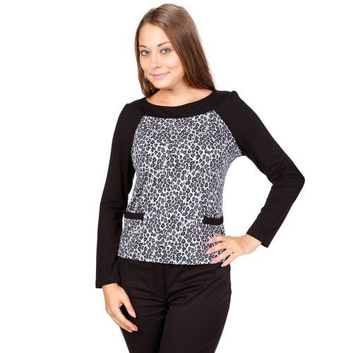 Блуза с рукавами-реглан и леопардовым принтом