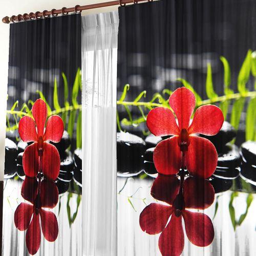 Комплект штор + тюль «Ночной цветок»