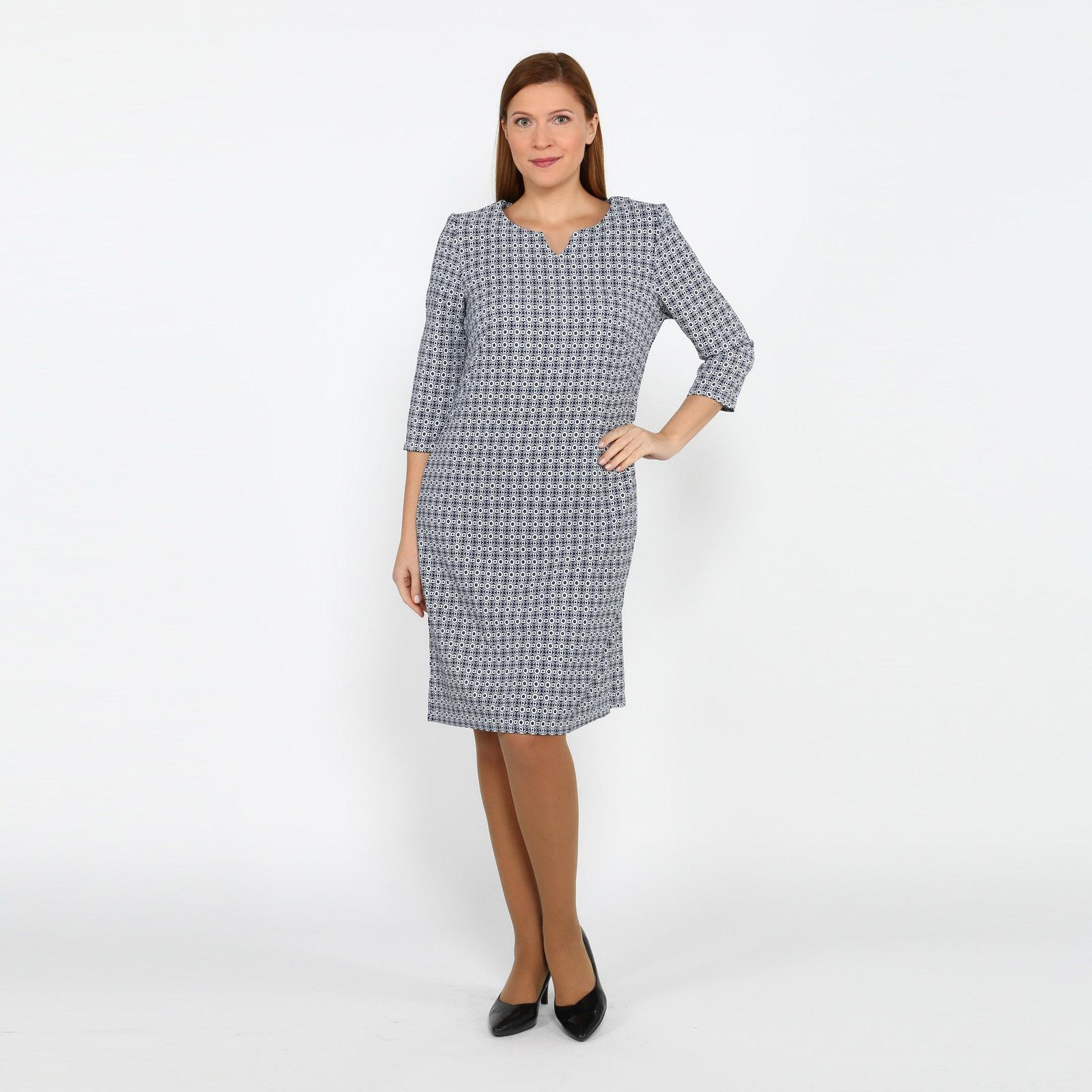 Платье с рукавом 1/2 и геометрическим принтом